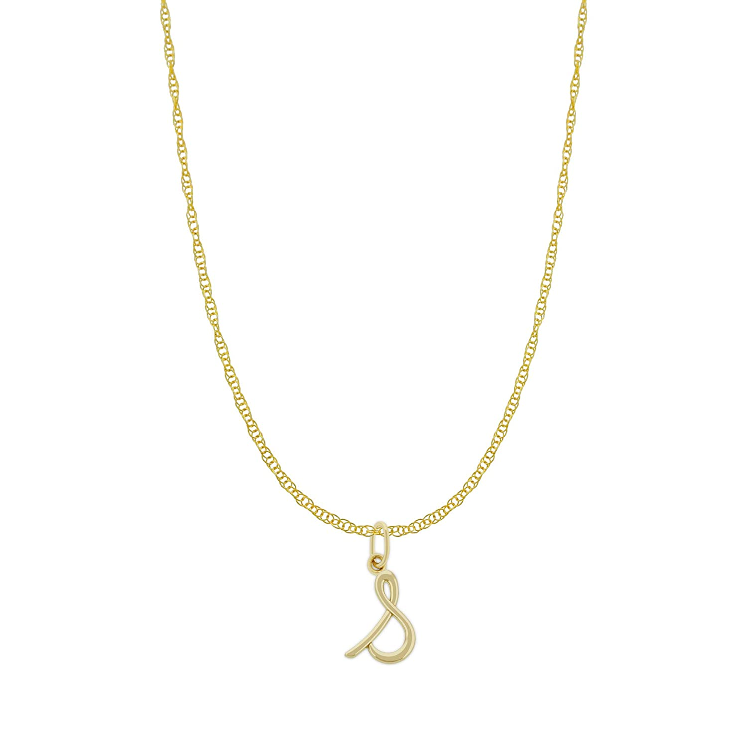 Optional Gold Chain 14 Karat Solid Gold Charm America Gold Lower Case Initial S Charm