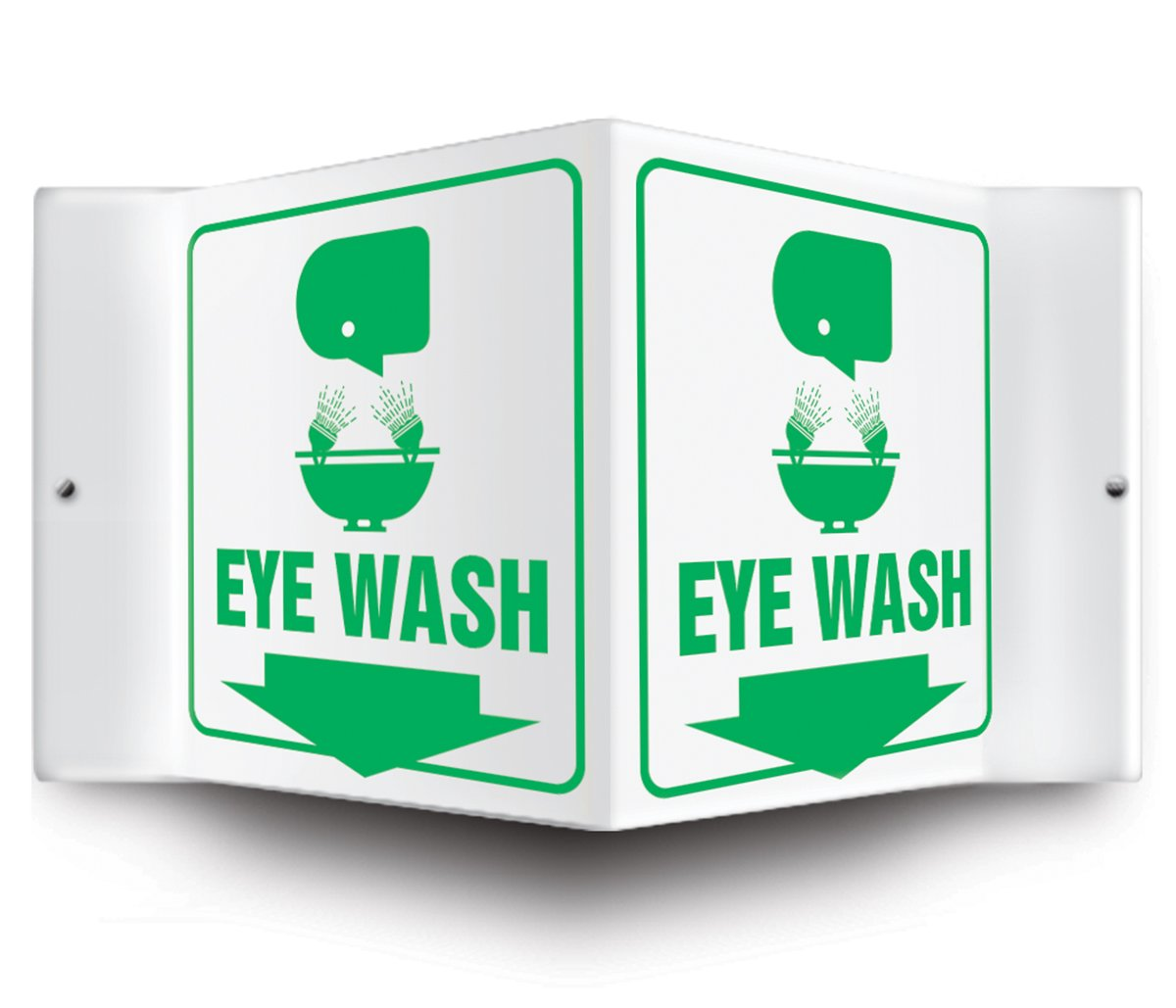 """Accuform Signs PSP601 Projection Sign 3D, Legend """"EYE WASH (ARROW DOWN)"""" with Graphic, 6"""" x 5"""" Panel, 0.10"""" Thick High-Impact Plastic, Pre-Drilled Mounting Holes, Green on White"""