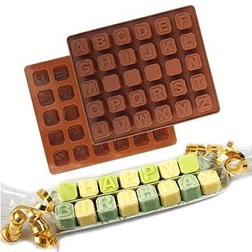 Molde de silicona con letras de chocolate, molde para fondant de pastel, molde para dulces de chocolate al azar random As Picture Show: Amazon.es: Hogar