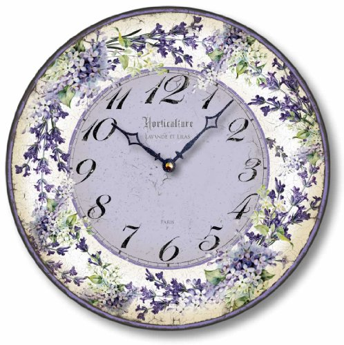 Vintage Style Lilacs and Lavender Clock