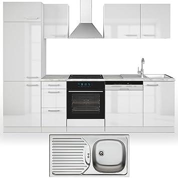 Vicco küche 270 cm inkl edelstahlspüle küchenzeile einbauküche komplettküche weiss hochglanz frei kombinierbare einheiten