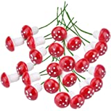 yueton Pack of 100 Mini Foam Mushroom for Garden Ornament Flower Pots Bonsai Micro Landscape Decor (Red)
