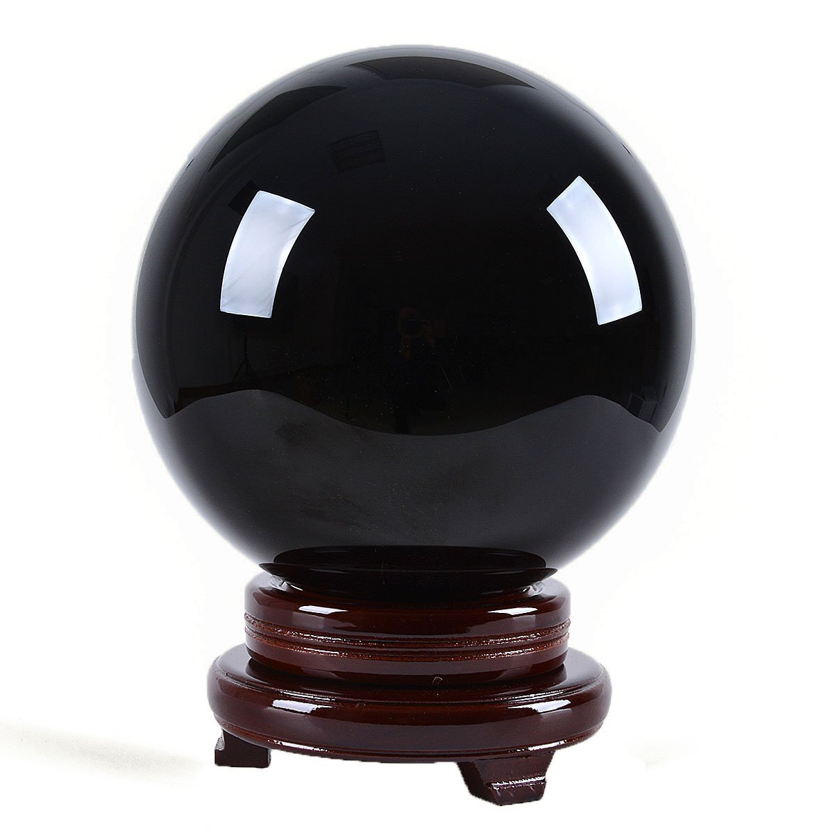 LONGWIN 200mm(8 inch) Natural Black Obsidian Divination Sphere Crystal Ball Free Wooden Stand by LONGWIN