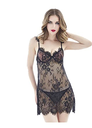 0b461a1c7 Amazon.com  Soluo Women s Lingerie V-Neck lace Open Back Sexy Women s  Pajamas Petticoat Babydoll Dress  Clothing