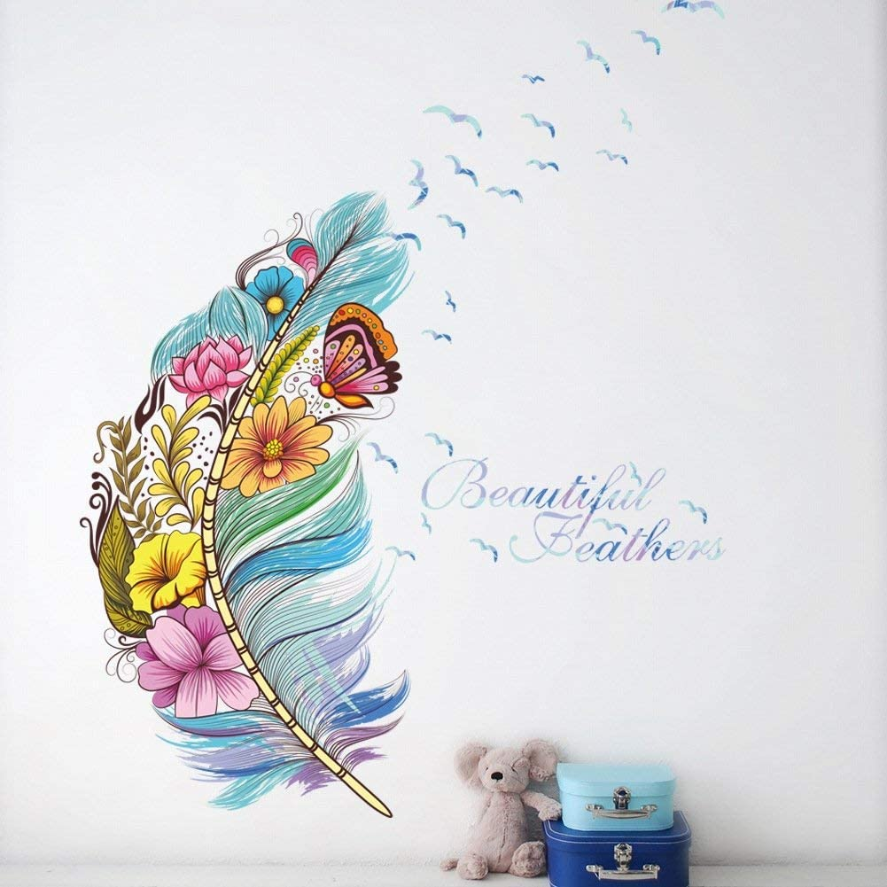 Wall Decoration Floral Blue Feather Wall Stickers for Bedroom, Peel and Stick Wall Decals for Living Room by Adarl