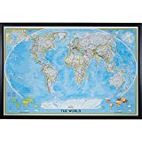 Craig Frames Wayfarer, Classic World Push Pin Travel Map, Gallery Black frame and Pins, 24 by 36-Inch
