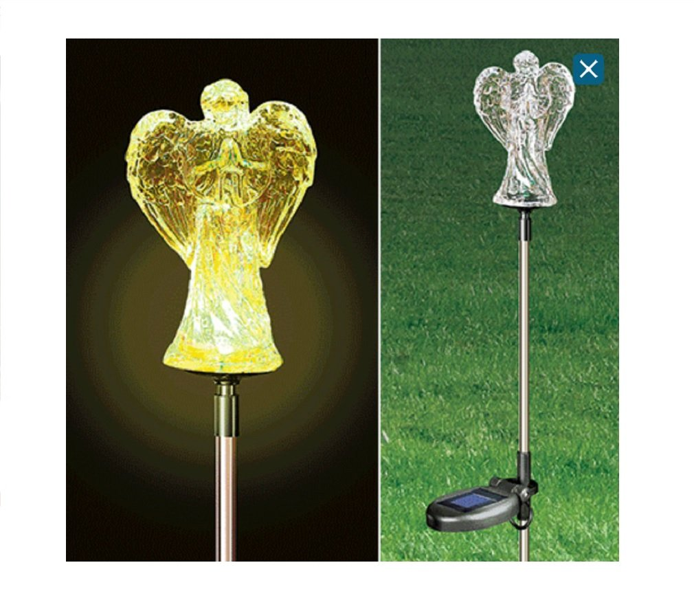 Trenton Gifts Solar Light Angel Garden Stake Grave Decoration Angel Outdoor Color Changing Light