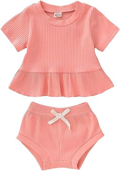 puseky 2 Piezas Bebé Niña Ropa Traje Manga Corta Algodón Camisa Vestido + Pantalones Cortos Conjunto: Amazon.es: Ropa y accesorios