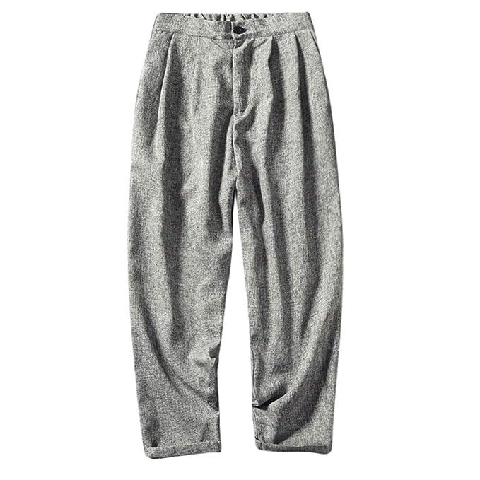 NIUQY Pantaloni Casual da Uomo Lino Sottile Pantaloni Corti