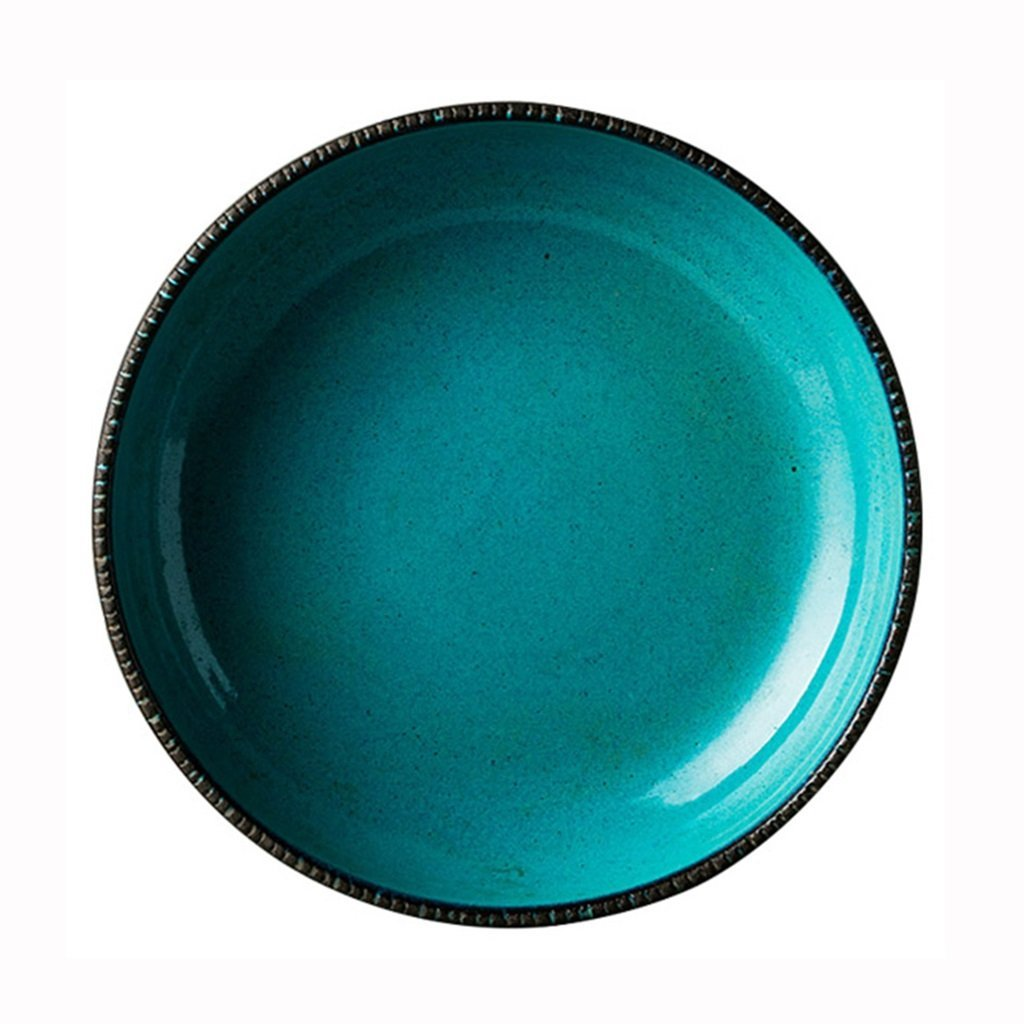 He Xiang Ya Shop Ceramic Steak Dish Pasta Plate Green Dinner Plate Vegetable Dish Plate Home Fruit Salad Plate Dessert Plate 8''