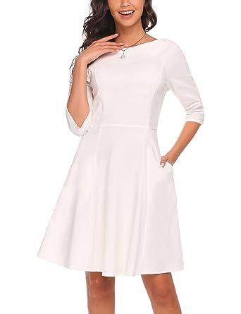 14f2bafeb3e61 ACEVOG Women's 3/4 Sleeve Swing Dress Solid Print Knee Long A Line Tea Dress