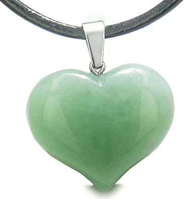 Amulet Large Puffy Heart Green Quartz Good Luck Powers Pendant 22 Inch Necklace