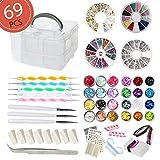 Aifaifa 69PCS DIY Nail Art Tools Decoration Manicure Kit, Glitter Nail Rhinestones, Nail Sticker Decal, Nail Sequins, Ombré Sponge, Dotting Pen, Clean Brush