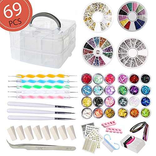 AIFAIFA 69PCS DIY Nail Art Tools Decoration Manicure Kit, Glitter Nail Rhinestones, Nail Sticker Decal, Nail Sequins, Ombr Sponge, Dotting Pen, Clean Brush