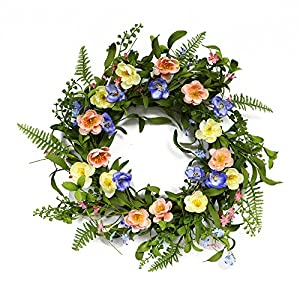 Puleo International 20-inch Artificial Ranunculus Wreath Potted Plant 16