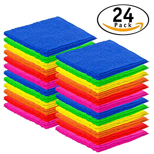 DecorRack 24 Pack Kitchen Wash Cloth, Small Towel, 100% Cotton, 12 x 12 Inch Colorful Dish Cloth, Perfect Cleaning Cloth for Washing Dishes, Kitchen, Bar, Counter and Car, Assorted Colors (Pack of 24) -
