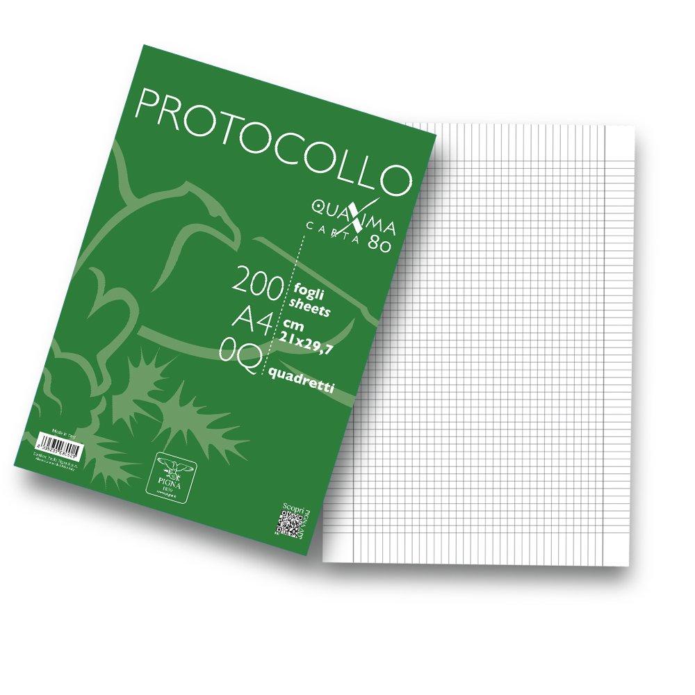 Pigna 02156210Q Protocollo in Risma - 1 Confezione da 200 Fogli Cartiere Paolo Pigna