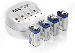 EBL 4 Bay 9V Lithium ion Battery Charger with 4 Packs 600mAh 9V Li-ion Rechargeable Batteries