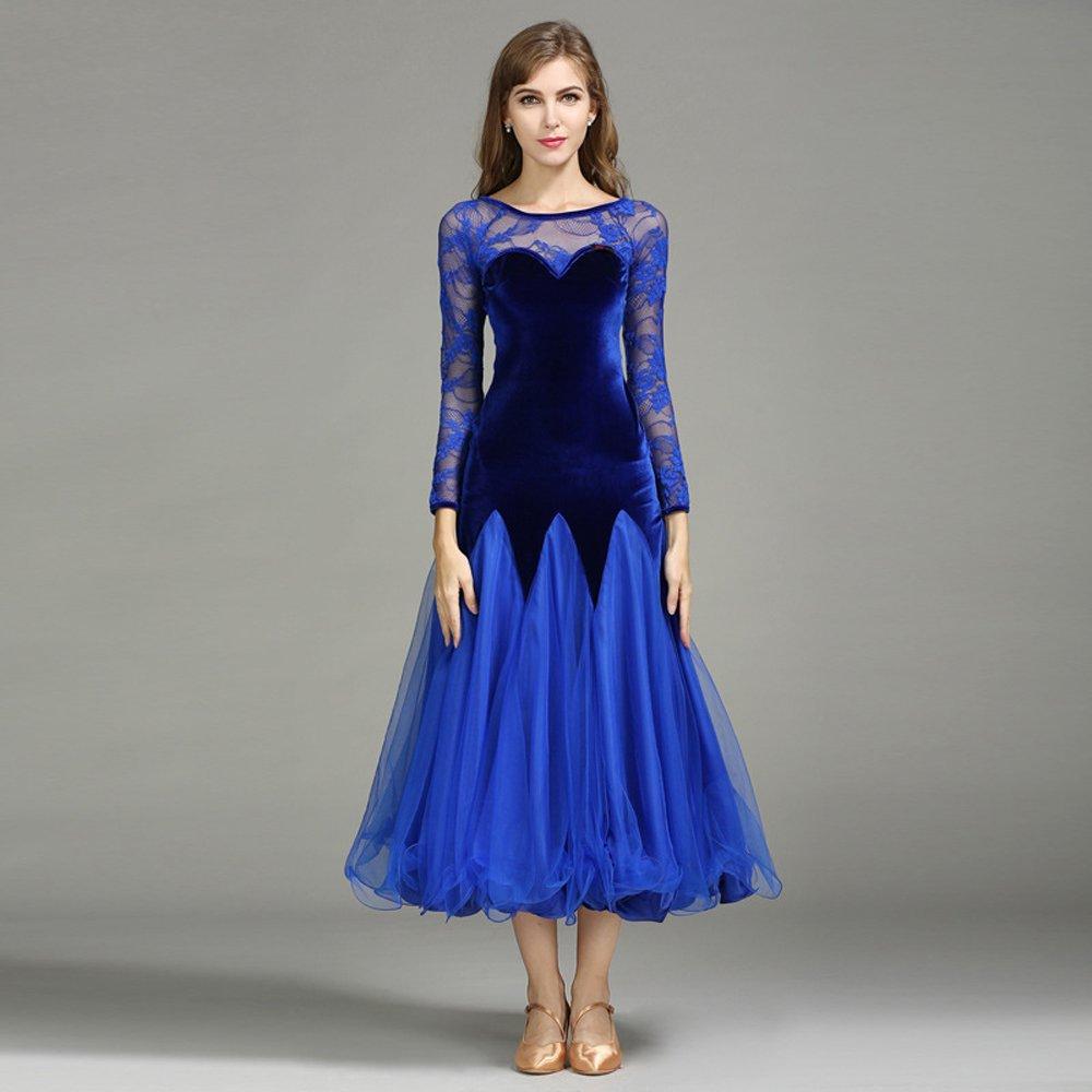 モダンな女性のベルベットモダンダンスドレス大きな振り子タンゴとワルツダンスドレスダンスコンペティションスカート長袖ネット糸ダンスコスチューム B07HHXQHH9 XL|Blue Blue XL