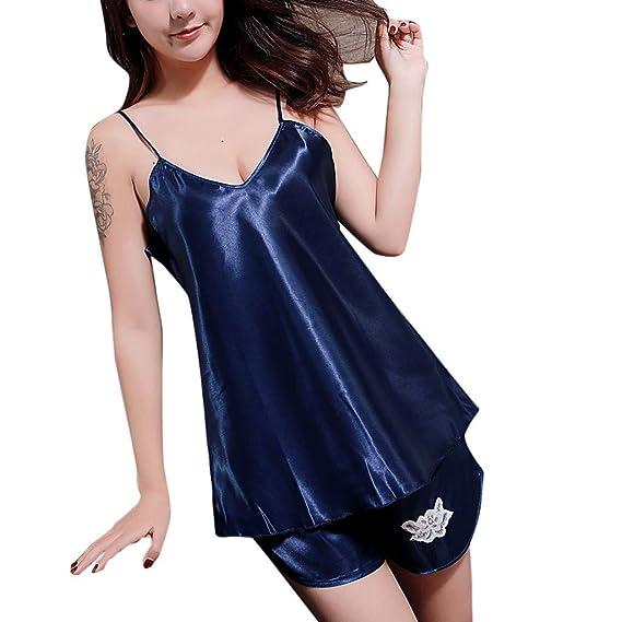 Internet_Mujer Sexy Encaje Color sólido Dos Conjuntos de Pijamas:Color sólido Seda Camisola + Pantalones Cortos con Encaje Bordes,Cuello en v Sexy Pijamas ...