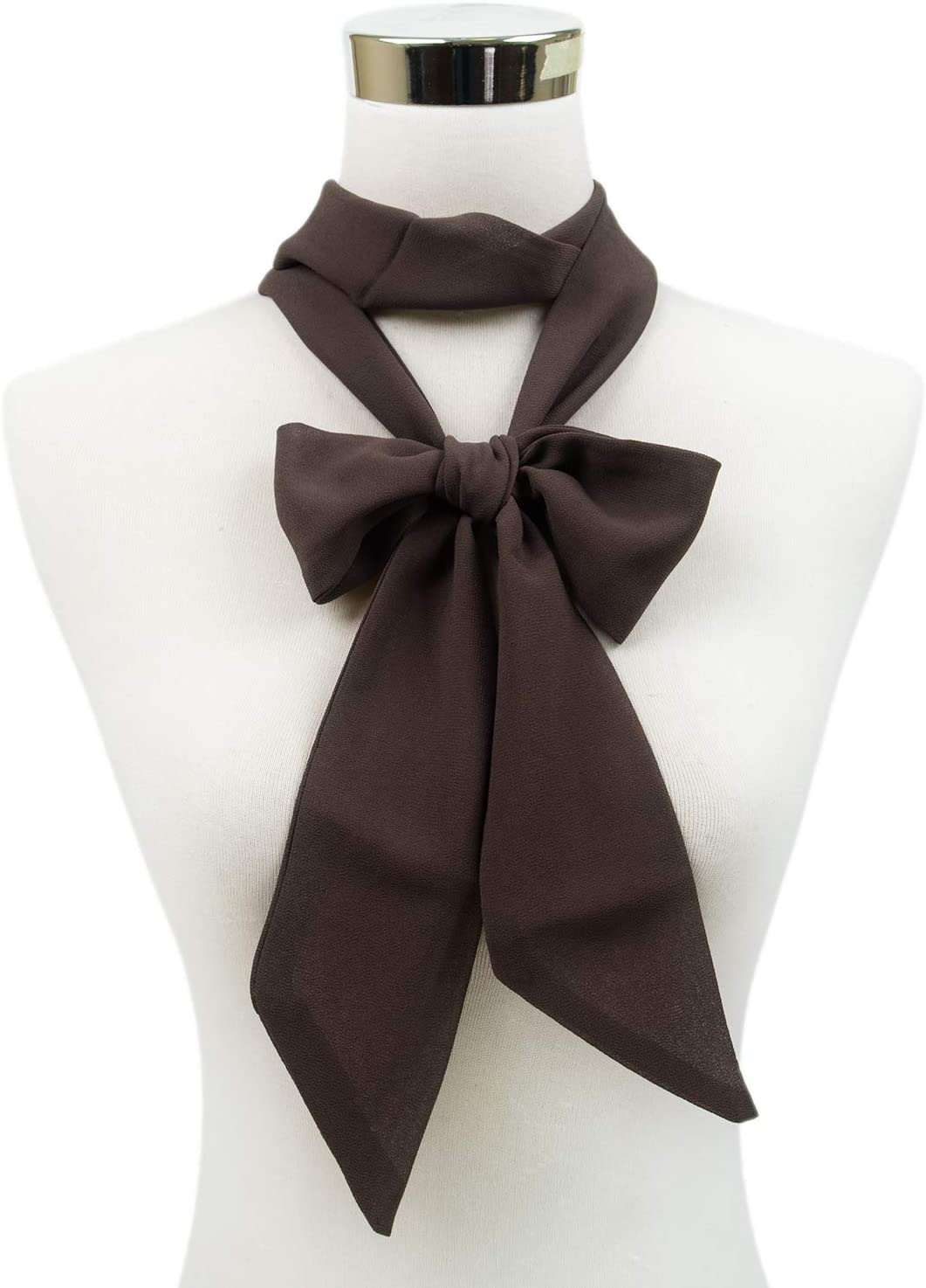 White Solid Color Scarf Ribbon Thin Long Stylish Basic Accessory Girls Winter