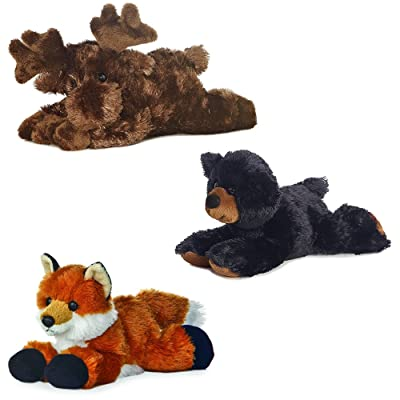 "Aurora Maxa Moose Sullivan Black Bear Foxie Fox Mini Flopsie 8"" Bundle: Toys & Games"