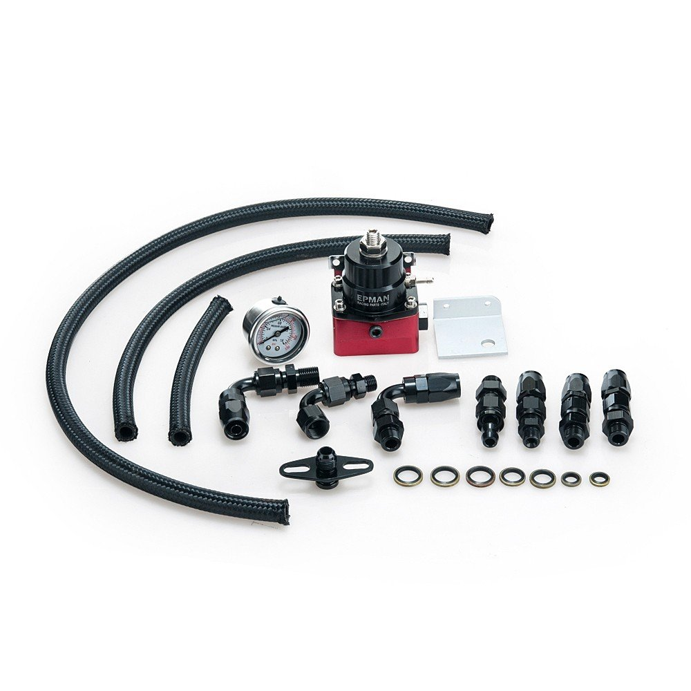 Universal Adjustable Fuel Pressure Regulator Kits 160psi Gauge AN6 Braided Oil Hose Black+Red YiPin EP-7MGTE