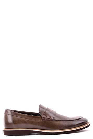 Men's MCBI148224O Brown Leather Loafers