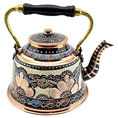 New CopperBull Handmade HandPainted Copper Teapot with Wooden Handle,2 Quart