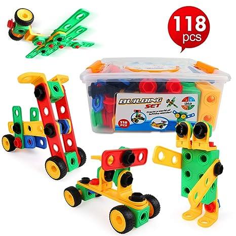 2c37a287bb LBLA Blocchi Costruzioni per Bambini, Giocattoli Bambina 7 Anni,Giocattoli  Creativi,118 Pezzi