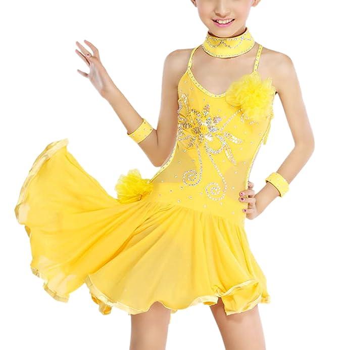 Feoya - Vestido de Danza Latina Baile de Salón para Niñas con Lentejuelas Brillates - Amarillo