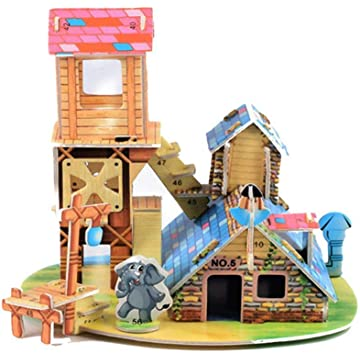 Partm 3D Paper Board Puzzle Early Learning Construction Assemble Toy Children Gift Small Architecture Building Paper Model Craft Kits Toys for Adults and Teens Brain Model DIY Building Sets
