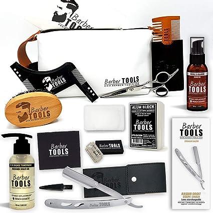 ✮ BARBER TOOLS ✮ Kit / Set / Estuche de arreglo y cuidado de la barba y afeitarse | Cosmético Made in French: Amazon.es: Belleza