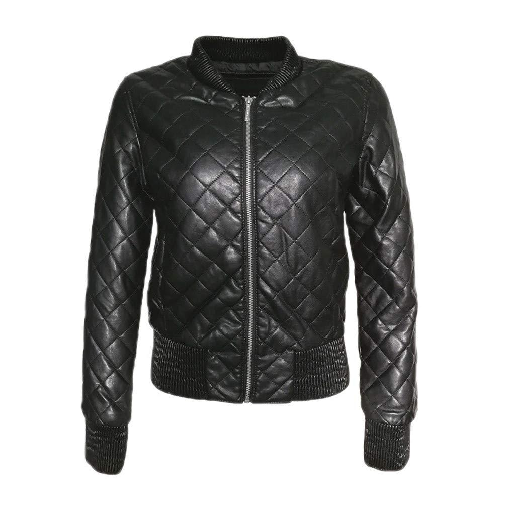 Women Leather Jacket Black Bomber Lozenge Faux Leather ...