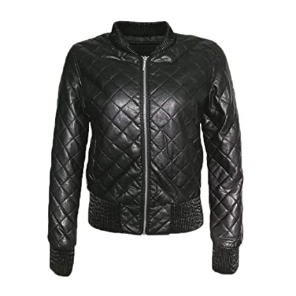 Women Leather Jacket Black Bomber Lozenge Faux Leather ...