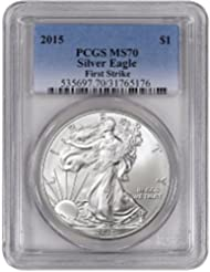 2015 American Silver Eagle $1 MS70 - First Strike - Gradient Blue Label PCGS