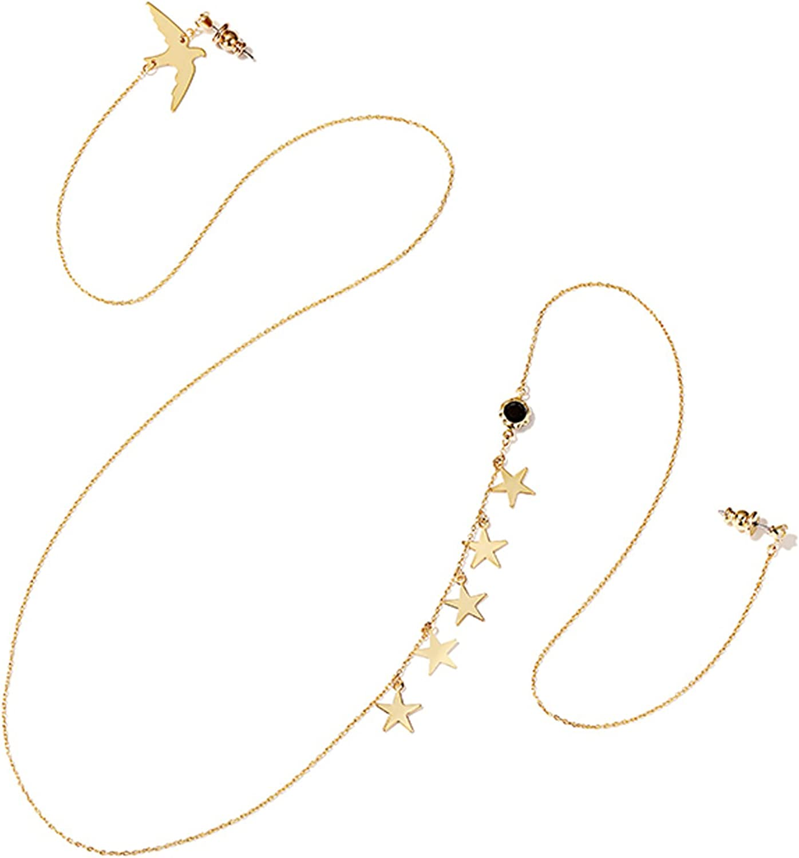 Bishilin Gold plate Earrings for womens Dangle Earrings Dove Stars CZ Long Earrings with Chain Ear Chain