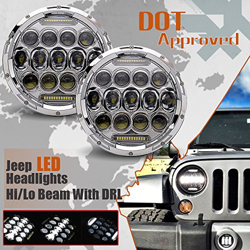 UNI-7INCH-Round-Led-Headlights-for-Jeep-Wrangler-JK-TJ-LJ-CJ-Rubicon-Sahara-Sport-Hummer-1-2-Kenworth-T2000-T-2000-Land-Rover-1998-2010-Tractor-Trailer-Truck-D0875