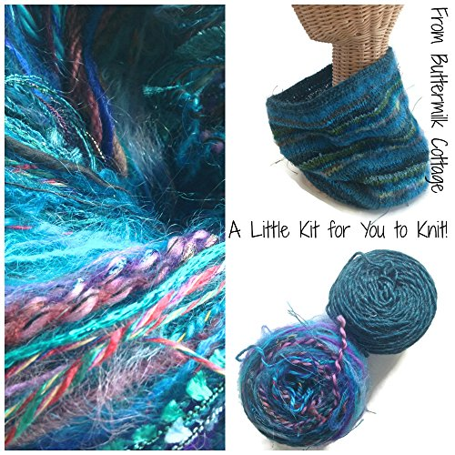 Boutique Yarn Cowl Knitting Kit Teal by Buttermilk Cottage