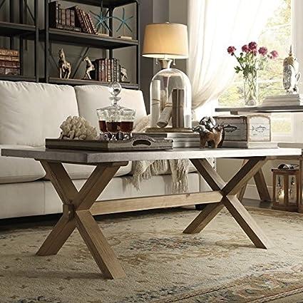Beau Amazon.com: INSPIRE Q Aberdeen Industrial Zinc Top Weathered Oak Trestle  Rectangular Coffee Table: Kitchen U0026 Dining