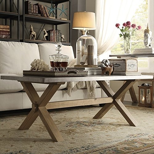 Amazon.com: INSPIRE Q Aberdeen Industrial Zinc Top Weathered Oak Trestle  Rectangular Coffee Table: Kitchen U0026 Dining