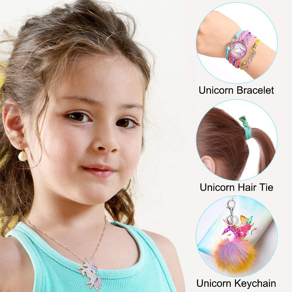 7 PCS Unicorn Gifts for Girls Sequin Drawstring Backpack//Makeup Bag//Bracelet//Necklace//Keychain//Hair Ties//Unicorn Sticker