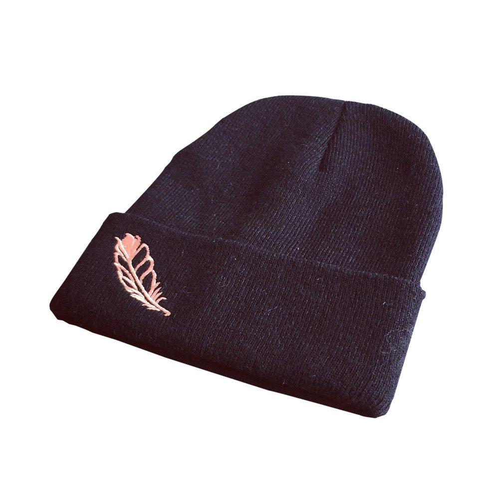 Women Beanie Hat,Winter Warm Knitted Letter Rose Embroidery Beret Cap Crochet Ski Hat Braided Cap