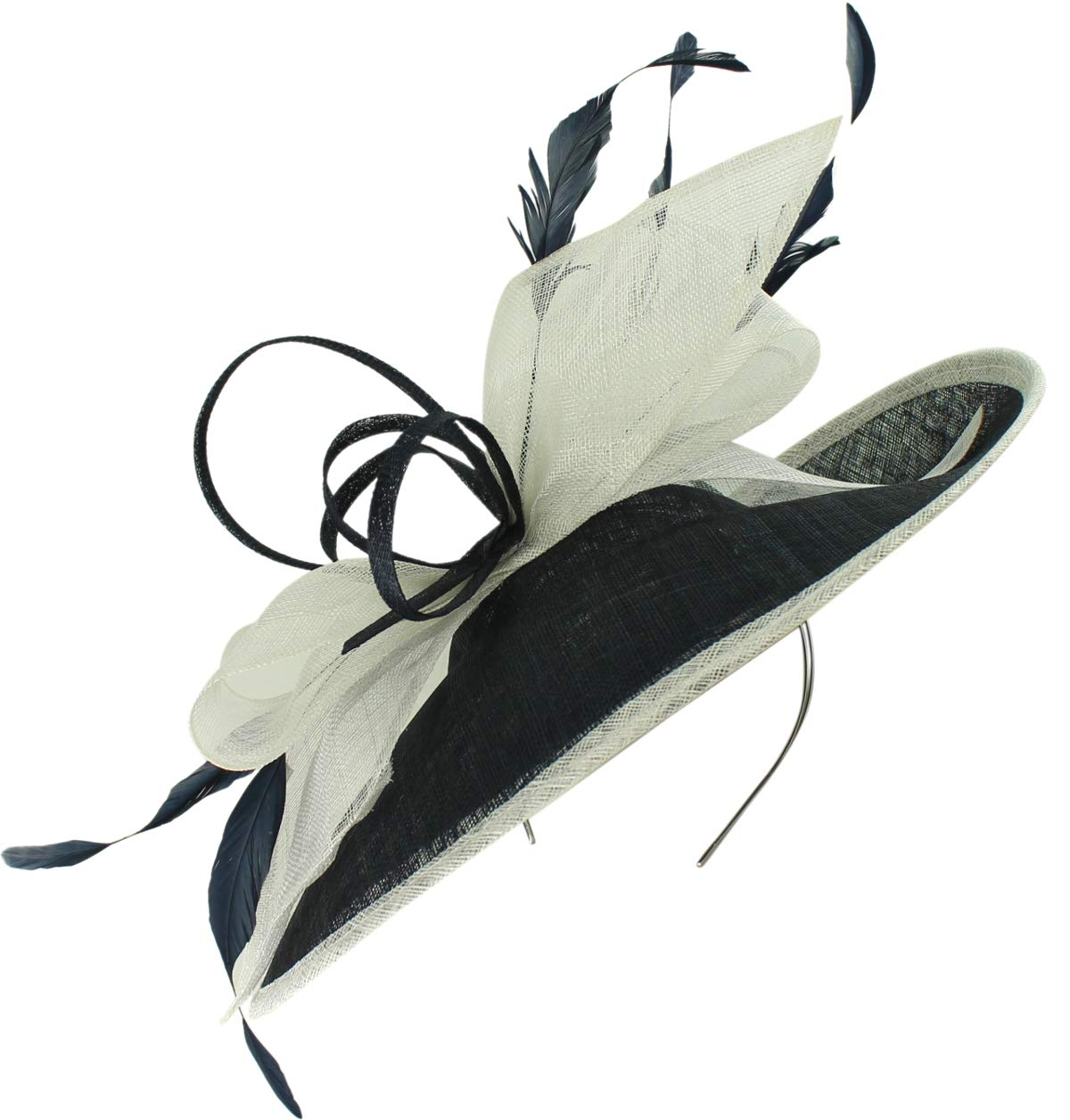 Max and Ellie Derby Disc Headpiece in Navy & White, Size: One Size