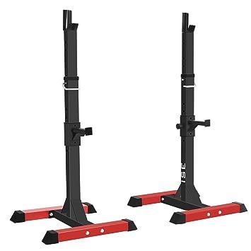 ISE Jaula de Squat Montaje de Squat Ajustable Squat Rack con Barras de Soporte sy-rk1001: Amazon.es: Deportes y aire libre