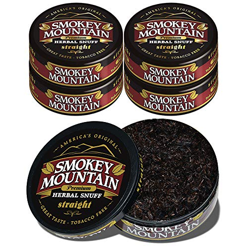 Smokey Mountain Herbal Snuff - Straight - 5 Cans - No Nicotine - No Tobacco - Great Tasting & Refreshing Chewing Alternative