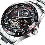 BOYZHE Men Luxury Brand Automatic Mechanical Sports Watches for Men Luminous Waterproof Stainless Steel Leather Watch