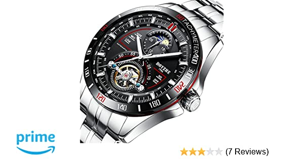 Amazon.com: BOYZHE Men Luxury Brand Automatic Mechanical Sports Watches for Men Luminous Waterproof Stainless Steel Leather Watch: Sports & Outdoors