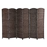 ALPHA HOME Extra-wide 6 Panel Room Divider - Handcrafted Wood Framed Folding Privacy Screen Diamond Pattern, Dark Brown