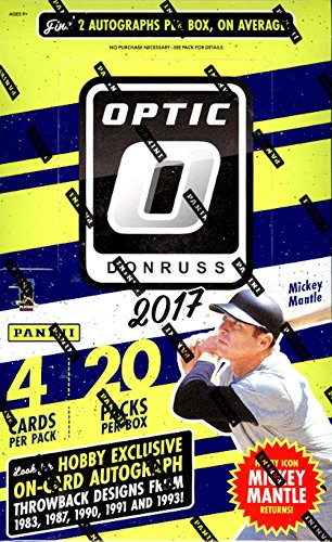 [2017 Donruss Optic Baseball Hobby Box (20 Packs of 4 Cards: 2 Autographs, 25 Inserts or Parallels)] (1991 Donruss Baseball)